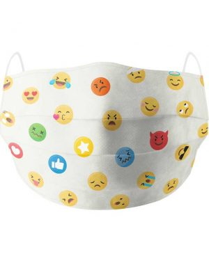 emoji white cotton face mask